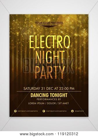 Creative shiny Flyer, Banner or Template design for Electro Night Party celebration.