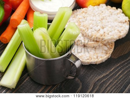 Celery Stalk With Vegetables And Diet Bread