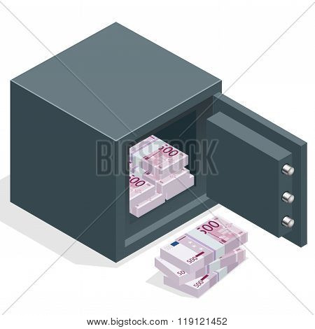 Bank safe with money euro stacks. Safe open with money. Vector 3d isometric illustration