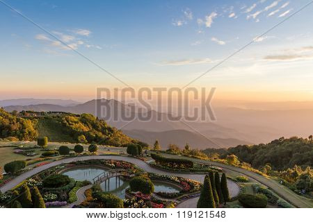 Beautiful Sunset At Doi Inthanon National Park, Chiang Mai, Thailand.