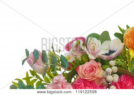 Beautiful Bouquet Of Bright Flowers Isolated