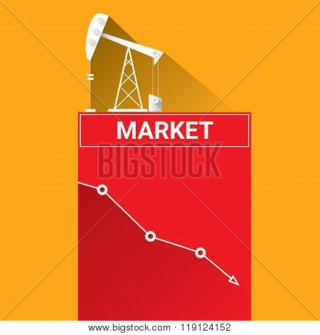 Oil price falling down graph illustration. vector