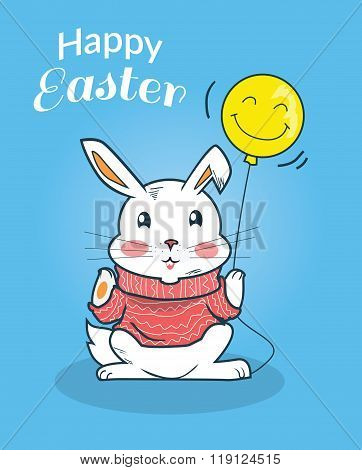 Happy Easter Bunny Design Flat