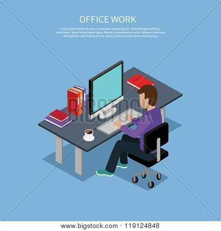 Isometric Man Office Work Interior Design