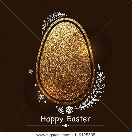 Creative Easter Egg made by beautiful golden glitter on brown background.
