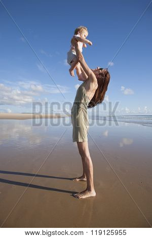 Woman With Baby Flying In Her Arms