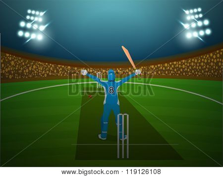 Cricket Batsman standing in winning pose on night stadium lights background.