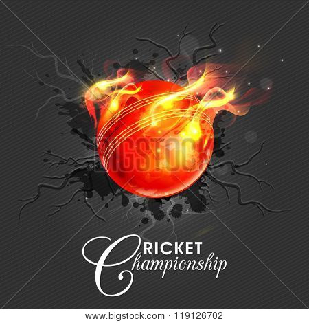 Creative red ball in fire on stylish background for Cricket Championship concept.