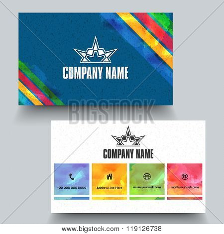 Creative horizontal Business Card, Name Card or Visiting Card set with front and back side view.