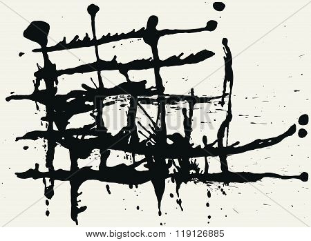 Splatter Black Ink Construction Background.