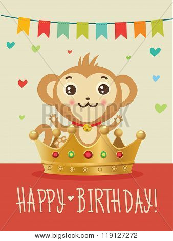 Happy Birthday To You. Wish, Humour, Friendship. Greeting Card. Birthday Image. Funny Happy Birthday. Birthday Wishes. Happy Birthday Image. Happy Birthday Card. Monkey And Gold Crown. Animal Vector.