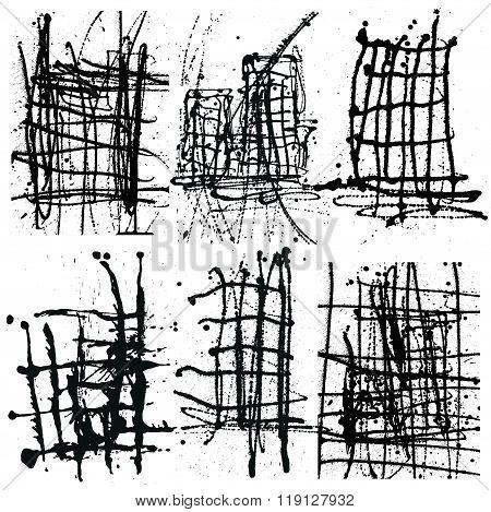 Splatter Black Ink Background Collection Set. Hand Drawn Spray B