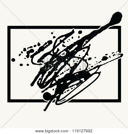Splatter Black Ink Background In Frame.