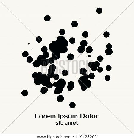Splatter Black Ink Dot Background.