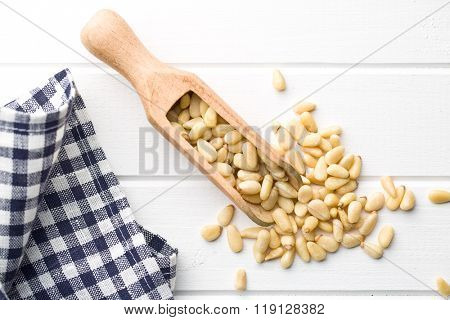 pine nuts in scoop on white wooden table