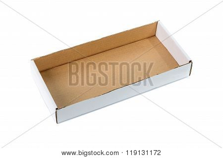 Open Cardboard Tray Or Brown Paper Tray Isolated With Soft Shadow On White Background