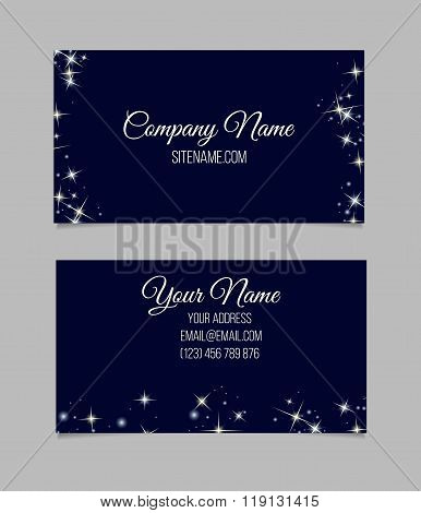 Business card template with stars