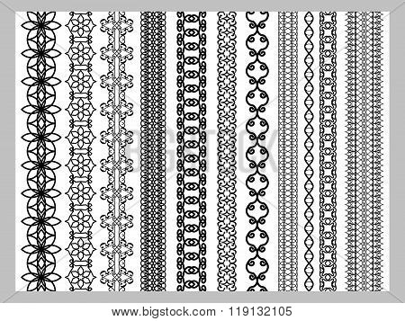 Indian Henna Border decoration elements patterns in black and white colors.