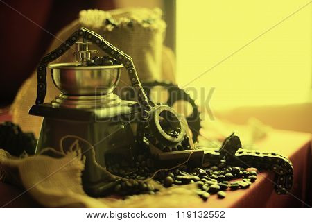Coffee Grinder And Engine Objects