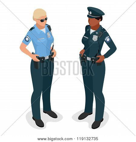 Policewoman in uniform. Realistic flat 3d isometric vector illustration. Officer woman isolated on
