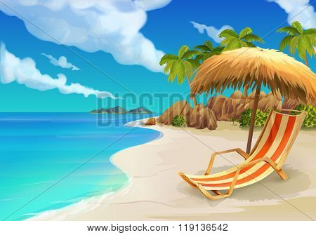 Tropical beach, lounge chair, vector background
