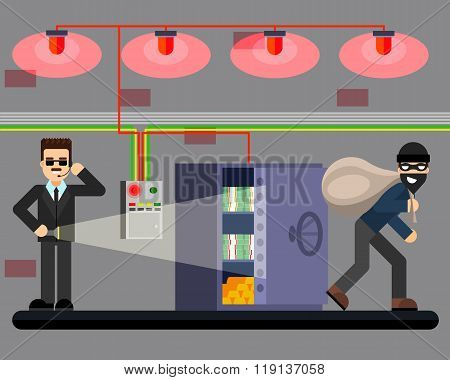 Bank robbery hacking safe crime scene security system vector illustration