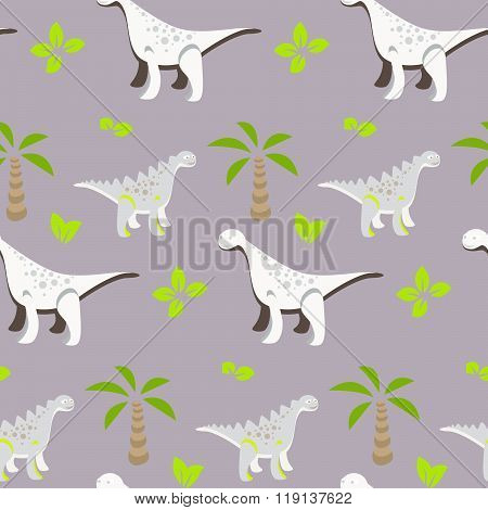 Dinosaur Kid Seamless Vector Pattern For Textile Print.