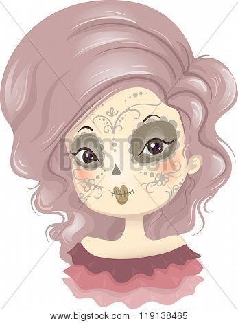 Illustration of a Girl Wearing a Creative Day of the Dead Make Up