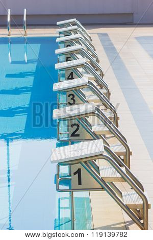 A Row Of Swimming Pool Starting Blocks At The Pool Edge. Vertical