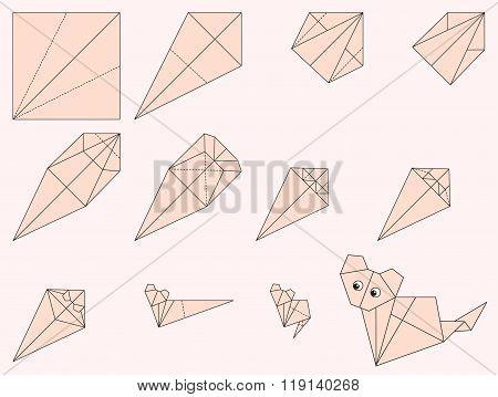 Origami Cat Illustration And Instruction