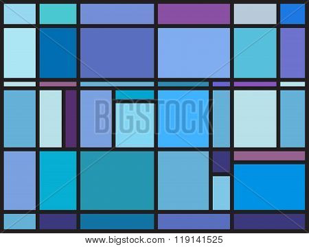 Multicolored Stained Glass Window With Irregular Block Pattern
