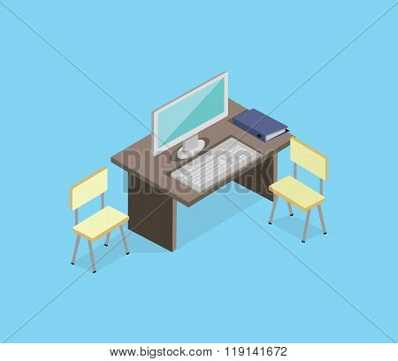 Workplace Empty Isolated Design Isometric