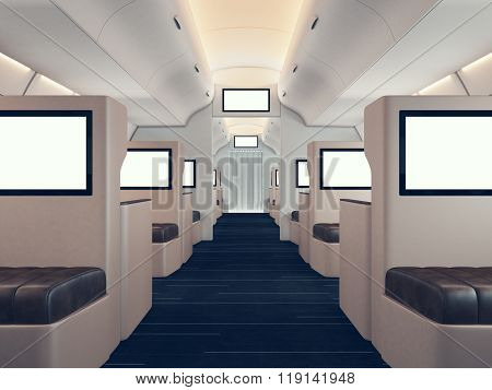 Photo of luxury airplane interior, first class. Blank digital panels holding. Empty space. Horizonta