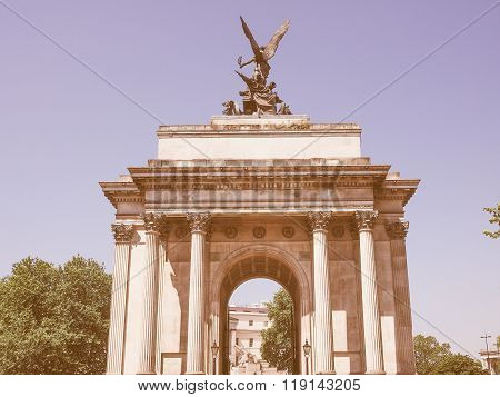 Retro Looking Wellington Arch In London