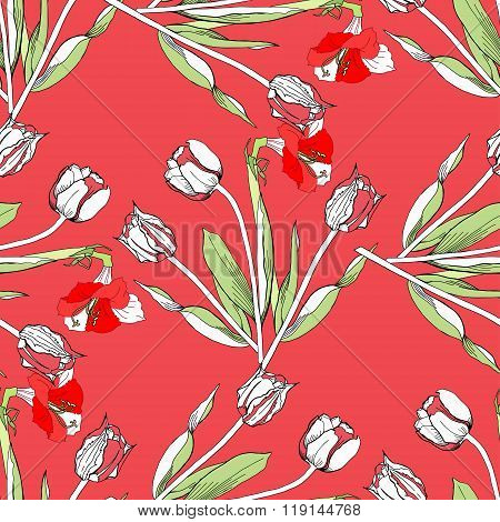 Seamless pattern with tulips flowers