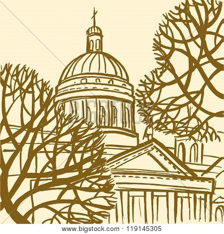 St. Isaac's Cathedral In St. Petersburg With Trees.