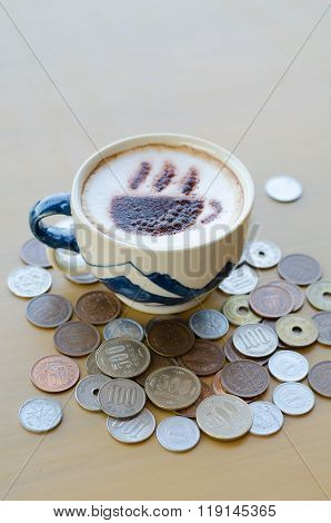 Hot Coffee And Japanese Yen Coin
