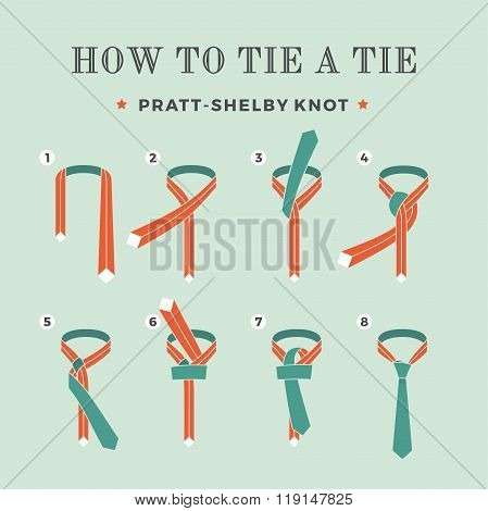 Instructions on how to tie a tie on the turquoise background of the eight steps. Knot Pratt-Shelby.