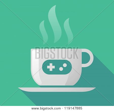 Long Shadow Cup Of Coffee With  A Game Pad