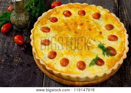 Outdoor Chicken Pie, Shortcrust Pastry And Cheese And Egg Filling