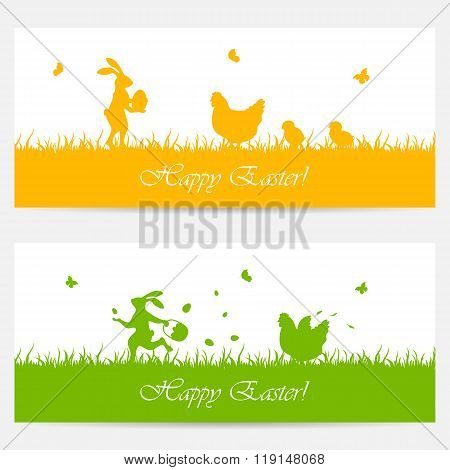 Banners With Easter Rabbits And Chickens