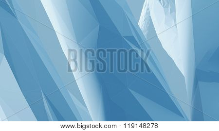 Photo of highly detailed blue color polygon. Abstract architecture background. Horizontal. 3d render
