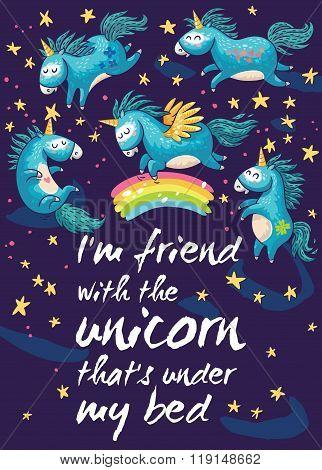 Magic card with cute unicorns. Vector cartoon illustration