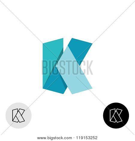 Letter K Flat Origami Wide 3D Ribbon Style Logo
