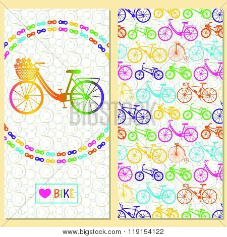 Invitation card with bike in the chain wreath, text love bike in rectangle frame. At the back six ki