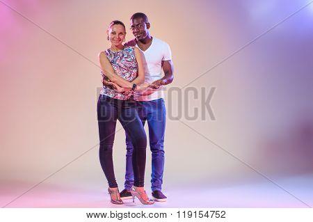 Young couple, studio shot