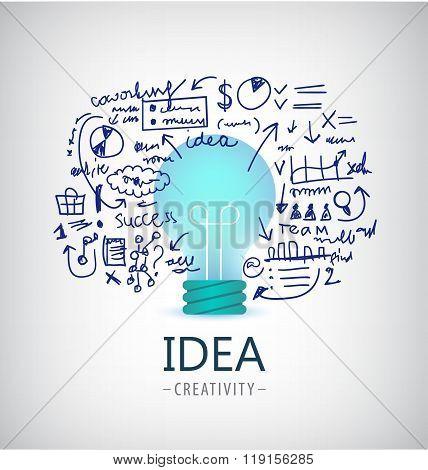 Vector brainstorm illustration, idea, business logo, icon, banner.Bulb, plan, start up