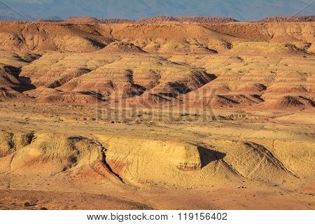 Moroccan Desert With The View Of Mountain Atlas