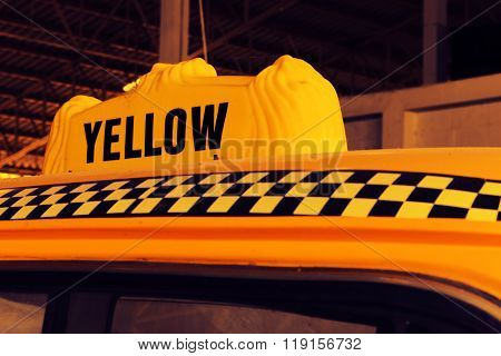 Yellow Cab Taxi, Detail On The Top Of Taxi Checker