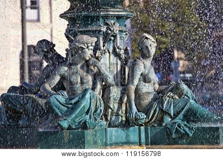 Famous Fountain On Rossio Square The Liveliest Placa In Lisbon